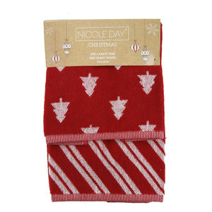 Candy Tree Red Guest Towel 2PK