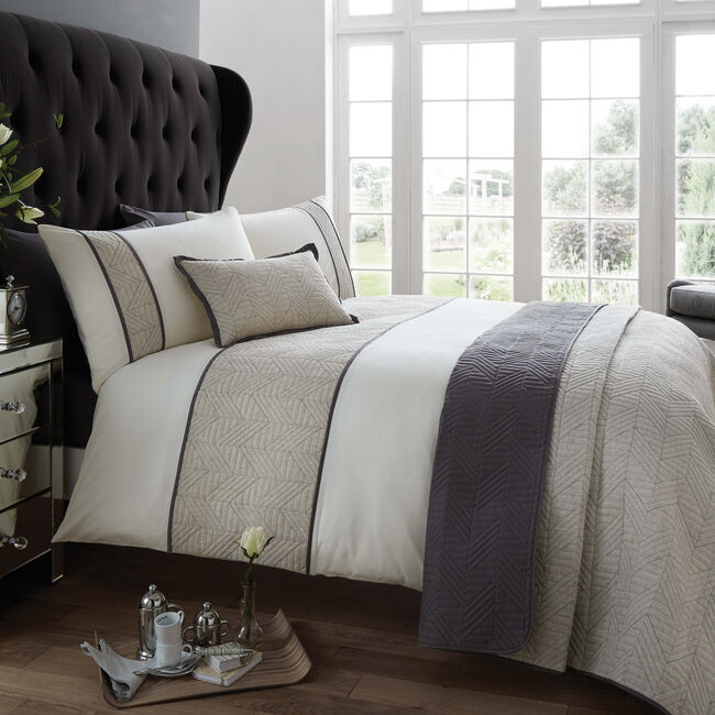 SINGLE DUVET COVER Linen Geo Charcoal