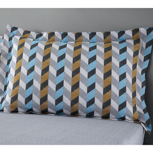 Jimmy Oxford Pillowcase Pair - Grey/Ochre