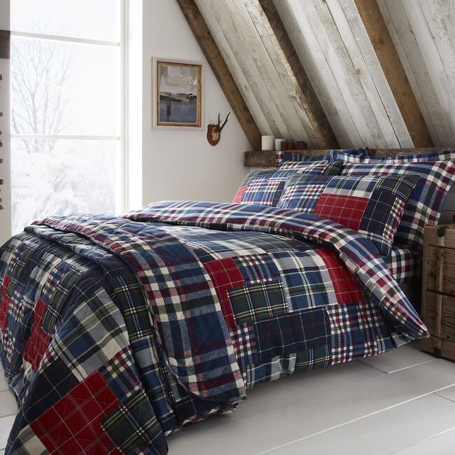 SINGLE DUVET COVER Brushed Cotton Patchwork Check