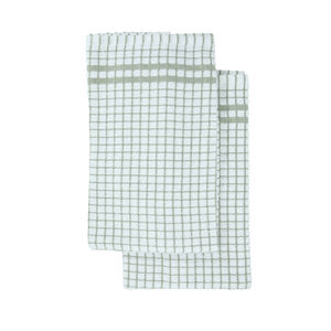 Mono Check Tea Towel 2 Pack - Sage