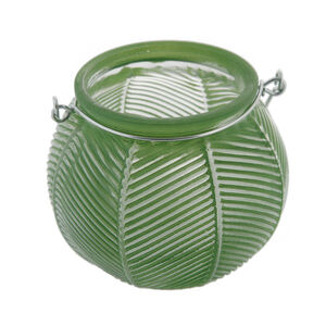 Small Dark Green Glass Lantern