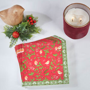 Robin & Holly Napkins 20 Pack