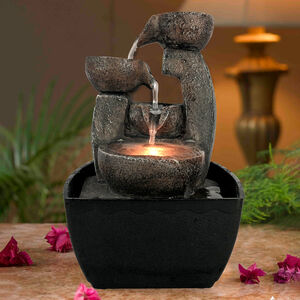 Stone Pot Tabletop Water Fountain with LED light