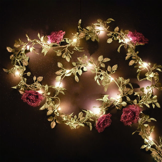 Light Up Garland with Glitter Roses