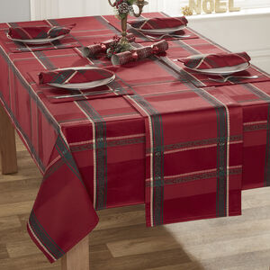 PLAID DAMASK RED 160x183cm Table Cloth