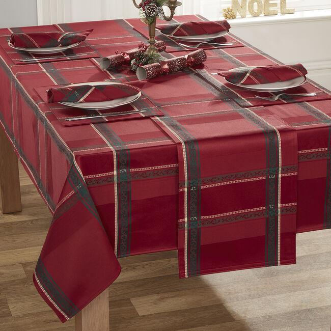 PLAID DAMASK RED 160x183cm Table Cloth
