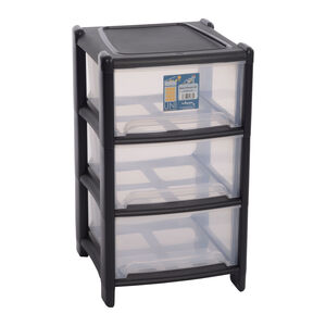 Deep 3 Drawer Storage Unit Charcoal