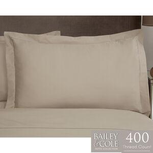 Single Stitch 400TC Oxford Pillowcase Pair - Mink