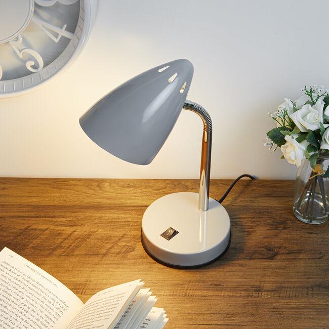 Modern Chrome Desk Lamp - Grey