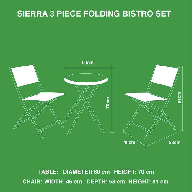 Sierra Folding Bistro Set 3 Piece