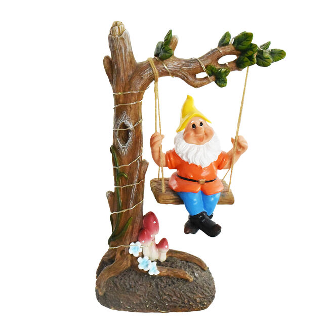 Garden Gnome On Swing Solar Light