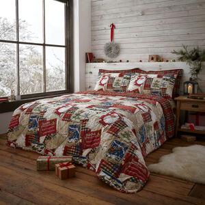 Patchwork Santa Bedspread 200 x 220cm - Red