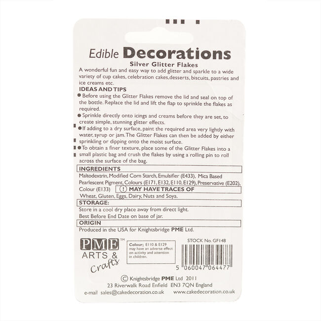 PME Edible Silver Glitter Flakes 7.1g