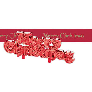 Red Merry Christmas Ribbon & Motto Set