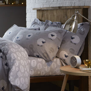 Brushed Cotton Sheep Grey Oxford Pillowcase Pair