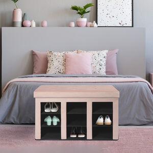 Folding Shoe Storage Ottoman - Pink