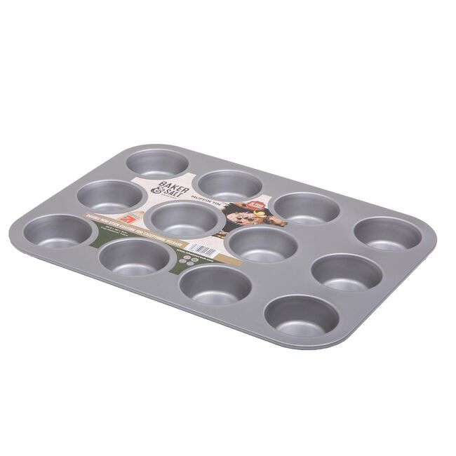 Baker & Salt 12 Cup Muffin Tray - Silver