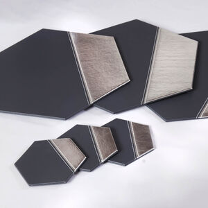 Metallic Hexagon Coasters 4 Pack - Grey & Silver