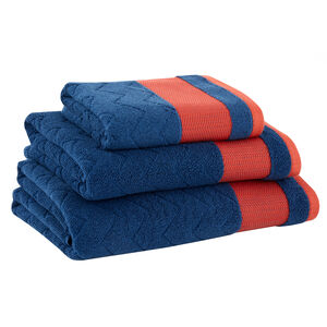 500GSM DAVE HERRINGBONE NAVY/PAPRIKA Hand Towel