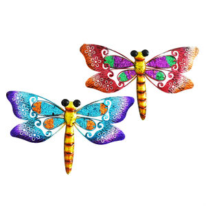 Glitter Dragonfly Garden Wall Art Set of 2