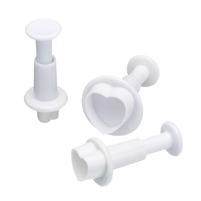 3Pc Heart Plunger Cutters