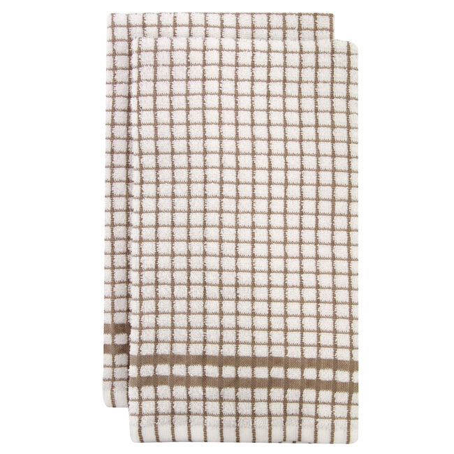 Mono Check Tea Towels 2 Pack - Natural