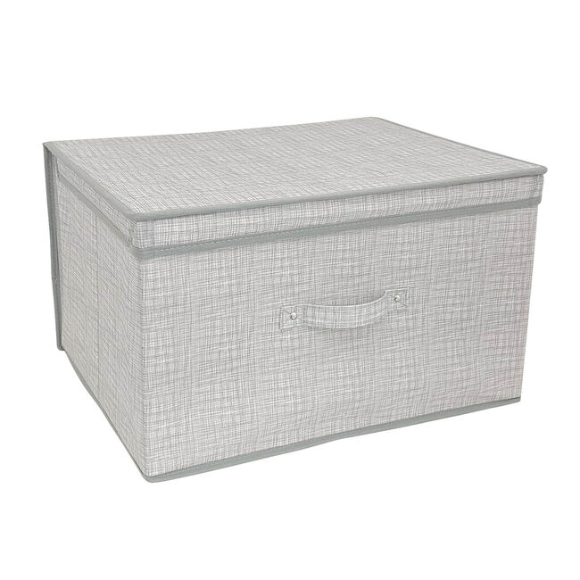Linen Look Foldable Storage Chest - Grey