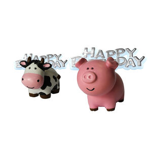 Farm Animals Cake Topper & Happy Birthday Motto
