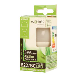 Eco Light 5W Golf Warm White Bulb (B22)