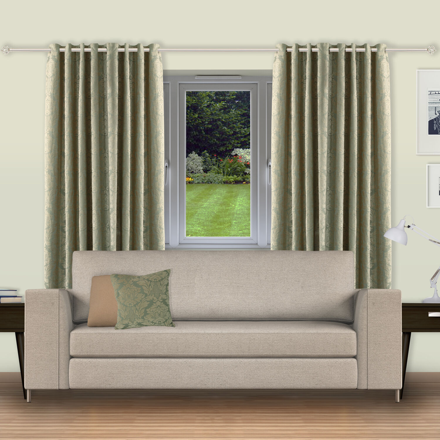 Versailles Damask Curtains - Duck Egg 070116 & Curtains - Home Store + More