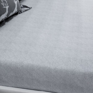 BRUSHED COTTON TEXTURED STAG Single Fitted Sheet