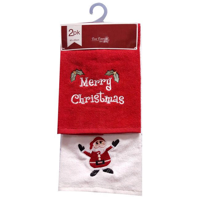 Merry Christmas Red Tea Towels 2 Pack