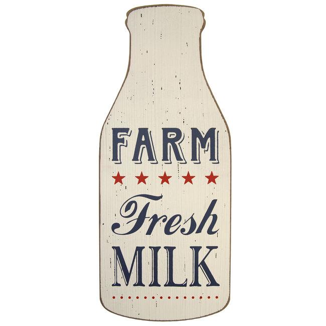 Farm Fresh Milk Bottle Wall Art 20cm x 48cm