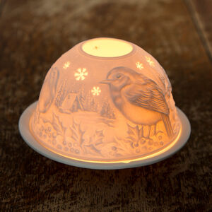 Porcelain Candle Holder Festive Robin