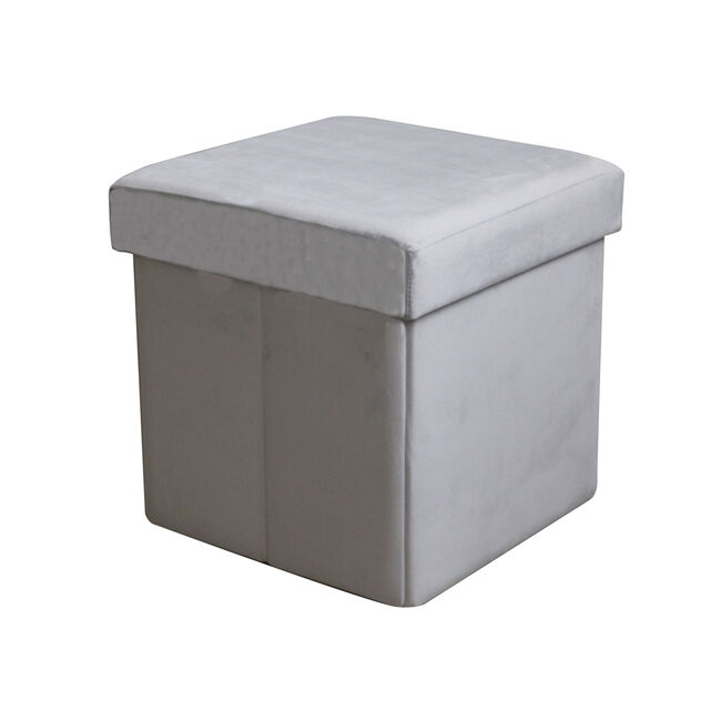 Deluxe Soft Grey Folding Ottoman
