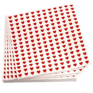 Hearts Red Napkins 20 Pack