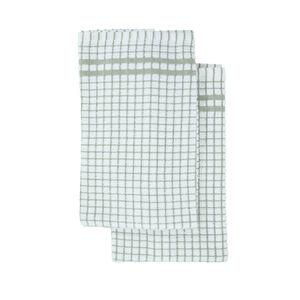 Mono Check Tea Towel 2 Pack - Sage