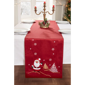 Embroidered Santa Table Runner