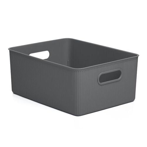 Stripe Storage Basket 15L - Grey