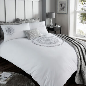 Single Duvet Cover Mandala Silver