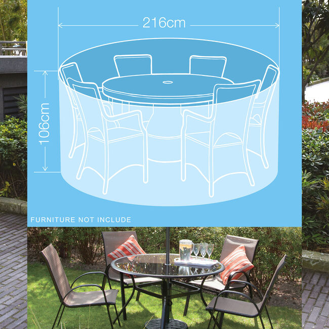 380GSM 6 Seater Round Furniture Set Cover