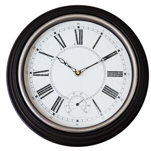 Wall Clock with Thermometer 12""