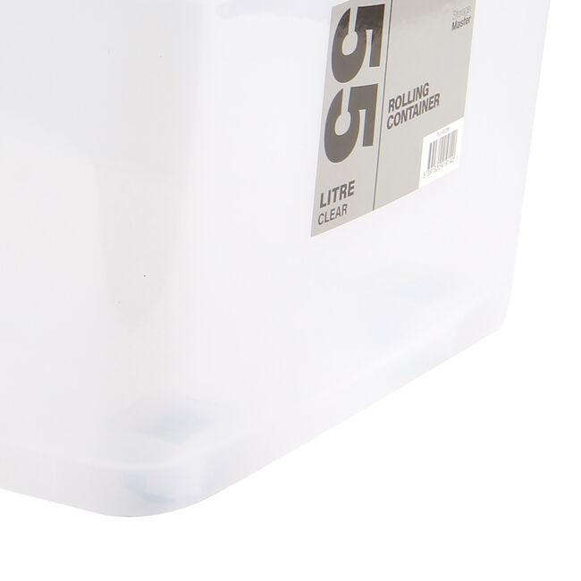 Rolling Storage Box 55L - Clear