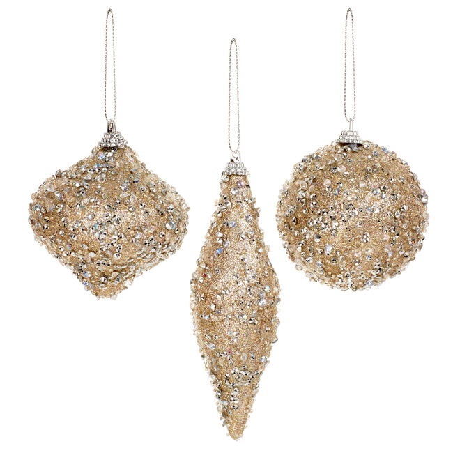 Assorted Crystal Gold Ornaments - 15cm