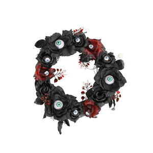 Black Wreath With Light Up Eyes