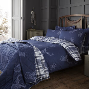 DOUBLE DUVET COVER Brushed Cotton Stag Navy