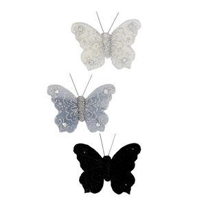 Diamante Butterflies Curtain Magnets 3Pk