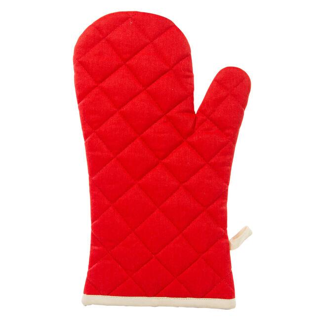Two Tone Single Oven Glove - Red/Cream