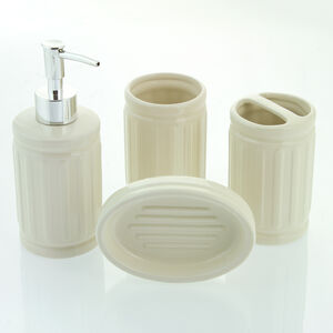 Renzo 4 Piece Bathroom Set Cream